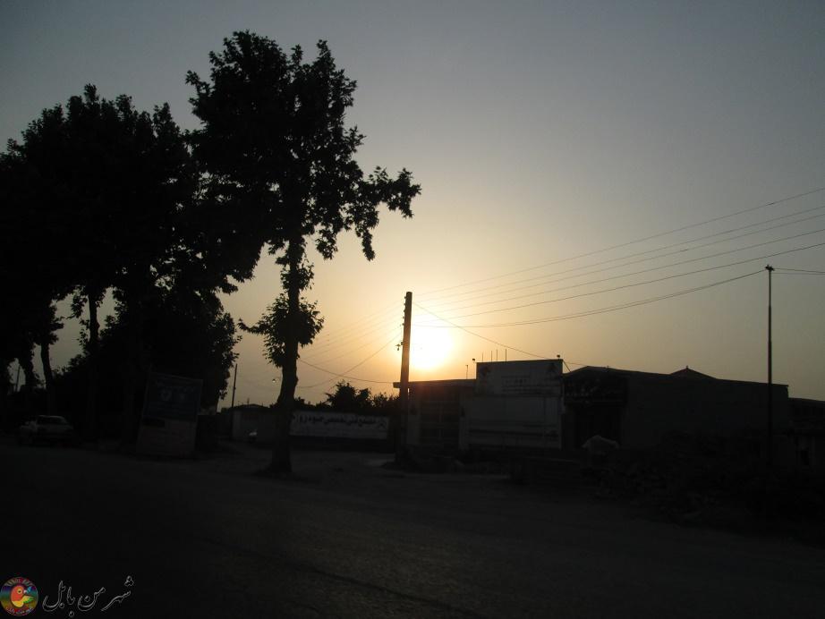 غروب زیبای آفتاب در جاده بابل به بابلسر 01