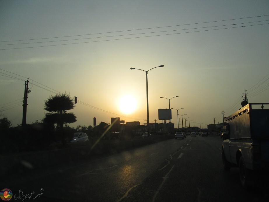 غروب زیبای آفتاب در جاده بابل به بابلسر 02